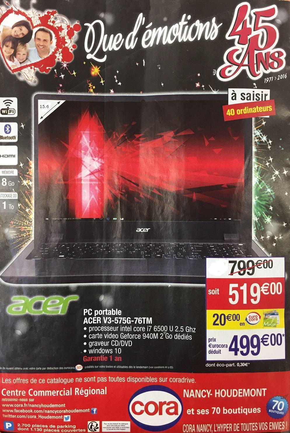 "PC Portable 15.6"" Acer V3-575G-76TM -  i7-6500U 2,5 GHz, RAM 8 Go, HDD 1 To, 940M"