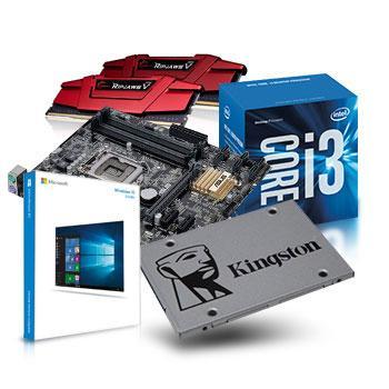 Sélection de Kits évolution PC - Ex : Carte mère Asus B150M-A/M.2 + Intel i3-6100 + SSD Kingston UV400 - 240 Go + 8 Go RAM G.Skill + Windows 10 Home