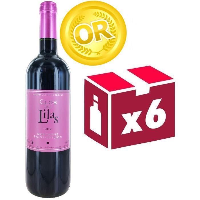 6 bouteilles de vin rouge Clos des Lilas Montagne Saint Emilion 2012