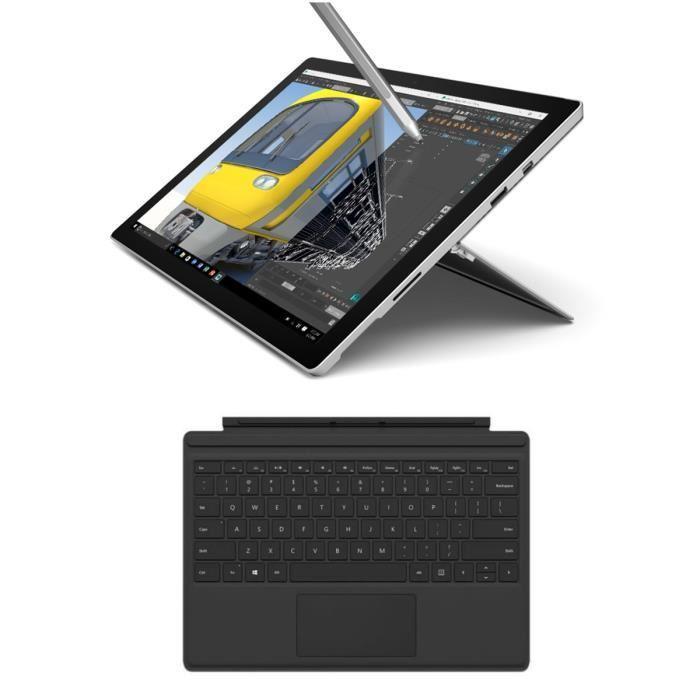 "Tablette 12.3"" Microsoft Surface Pro 4 - 2736 x 1824, i5-6300U, 4 Go RAM, SSD 128 Go, Windows 10 Pro + Stylet surface + Clavier type Cover noir"