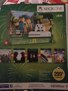 Pack Console Microsoft Xbox One S 500 Go + Minecraft (Édition Spécial) + Assassin's Creed Unity + Halo 5 + Halo Masterchief Collection + Forza Horizon 3 + Film The Lego Movie (4K)