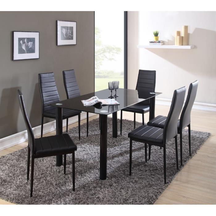 Ensemble table à manger en verre 140x80 cm + 6 chaises en simili - Noir