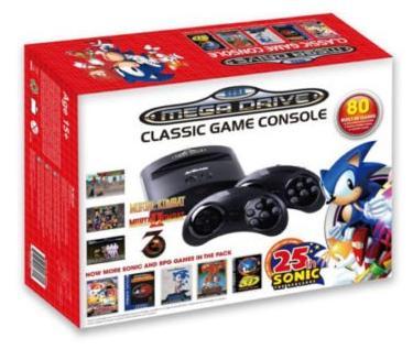 Console Sega Mega Drive Retro - Édition Sonic 25ème Anniversaire (avec 80 jeux)