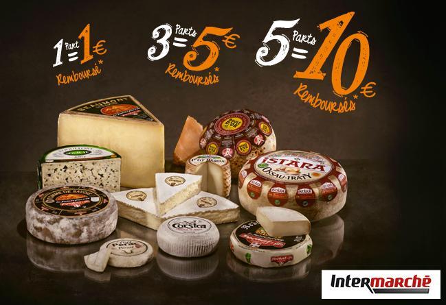 1€ remboursé pour 1 part, 5€ pour 3 parts et 10€ pour 5 parts de fromage Émilien achetées (parmi une sélection)