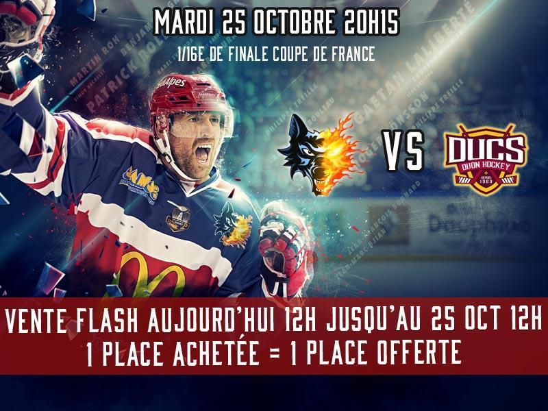 1 Place pour le Match de Hockey Brûleurs de Loups /  Ducs de Dijon pour la 1/16e de Finale de la Coupe de France achetée = 1 Place offerte