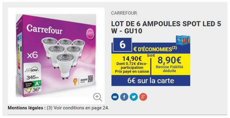 Lot de 6 ampoules SPOT LED 5W - GU10