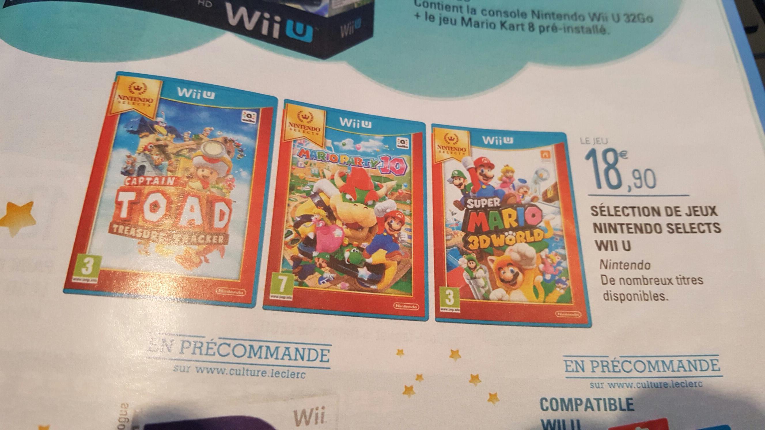 Sélection de jeux Wii U Nintendo Select (Captain Toad, Mario Party 10...)