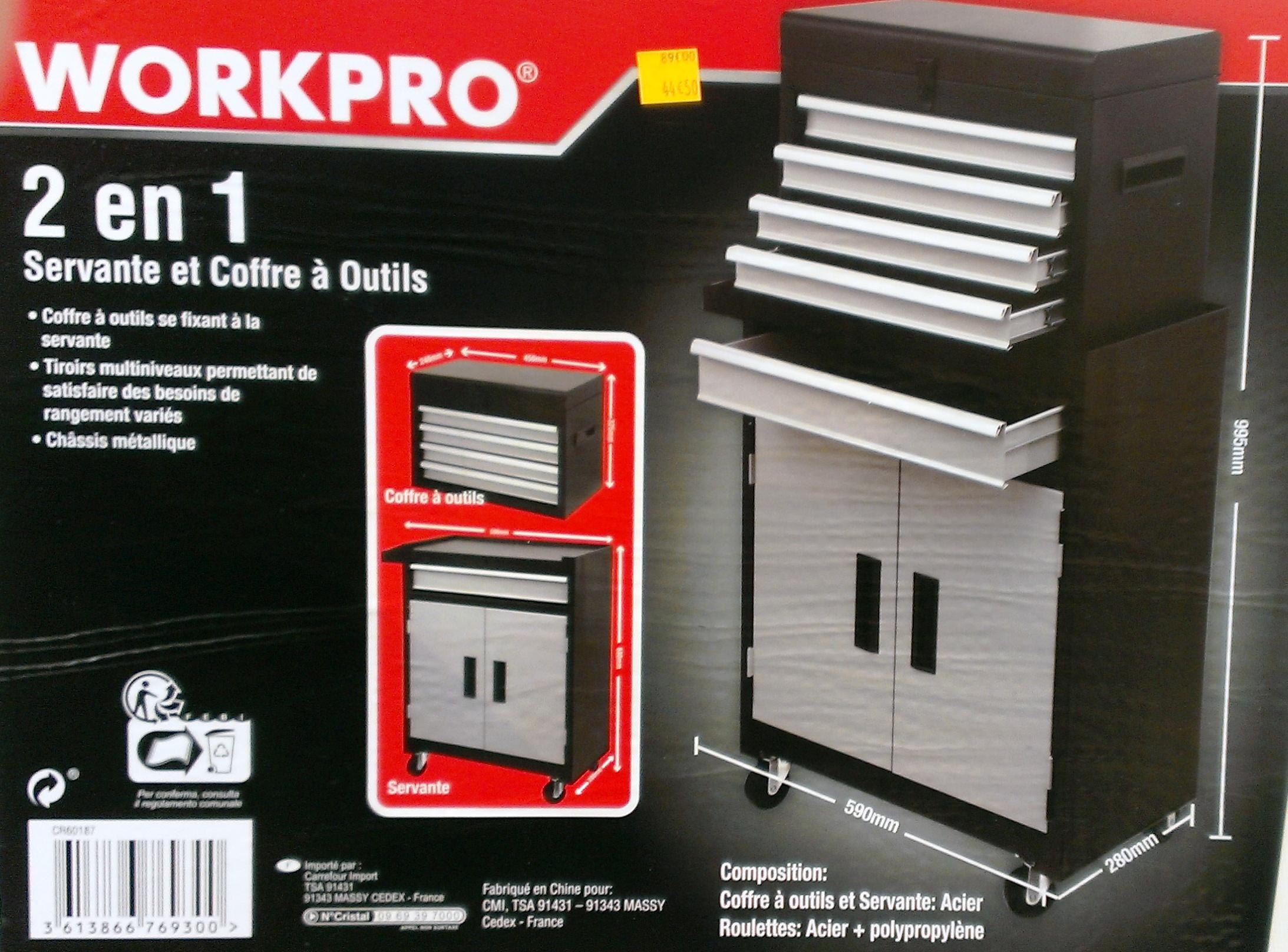 Servante d'Atelier 2-en-1 WorkPro avec Coffre à Outils - 99x28x59cm