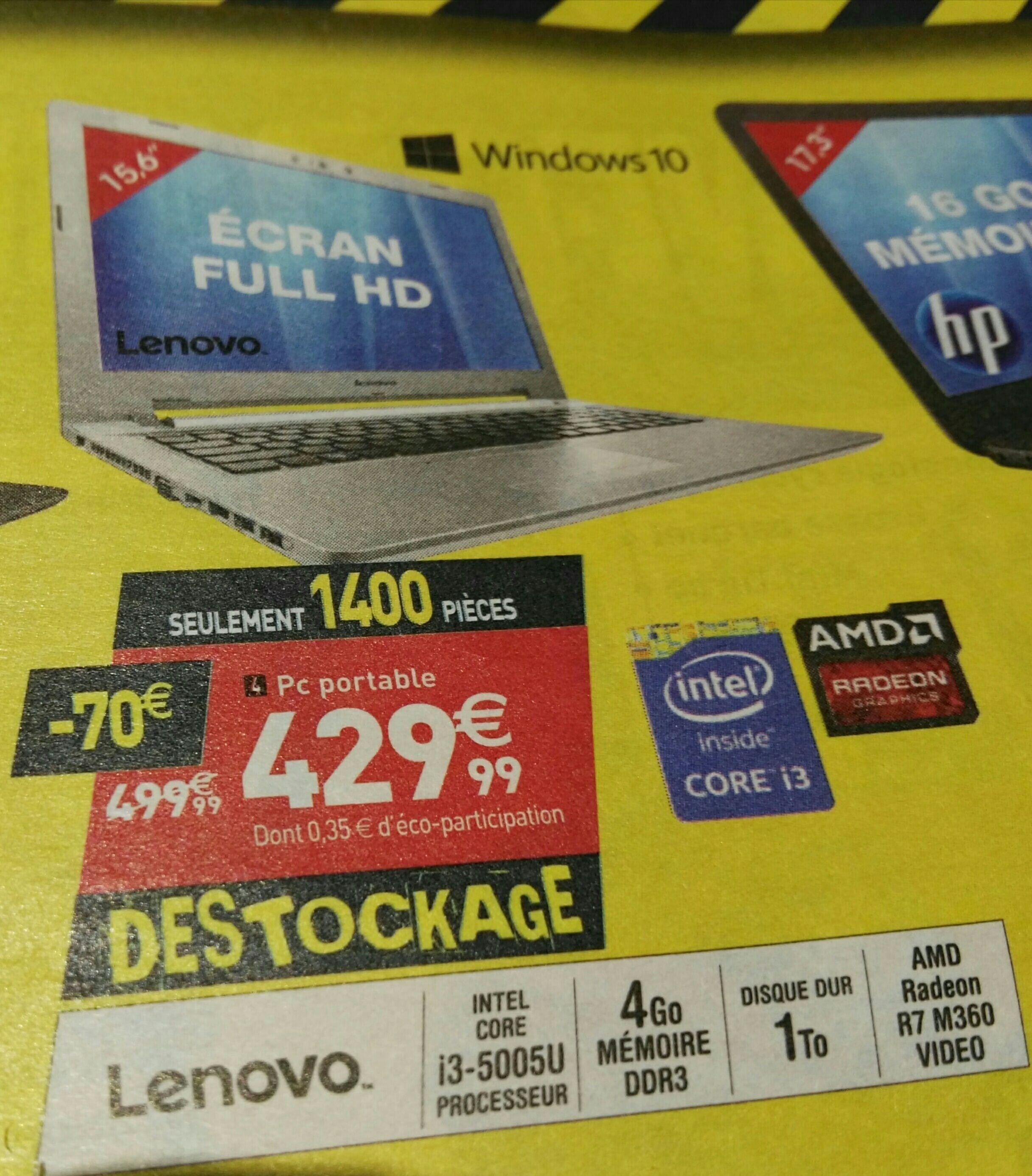 "PC Portable 15.6"" Full HD Lenovo Z51-70 80K601AGFR (i3-5005u, 4 Go RAM, 1 To HDD, R7 M360, Windows 10)"