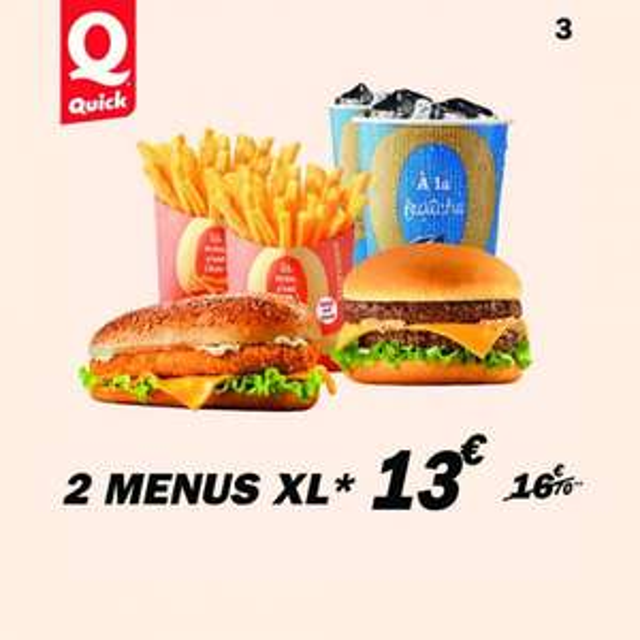 Sélection d'offres - Ex : 2 Menus XL
