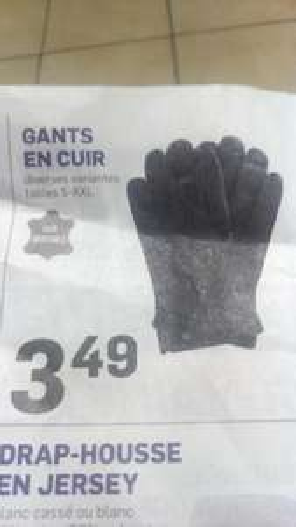 Paire de gants en cuir (du S au XXL)