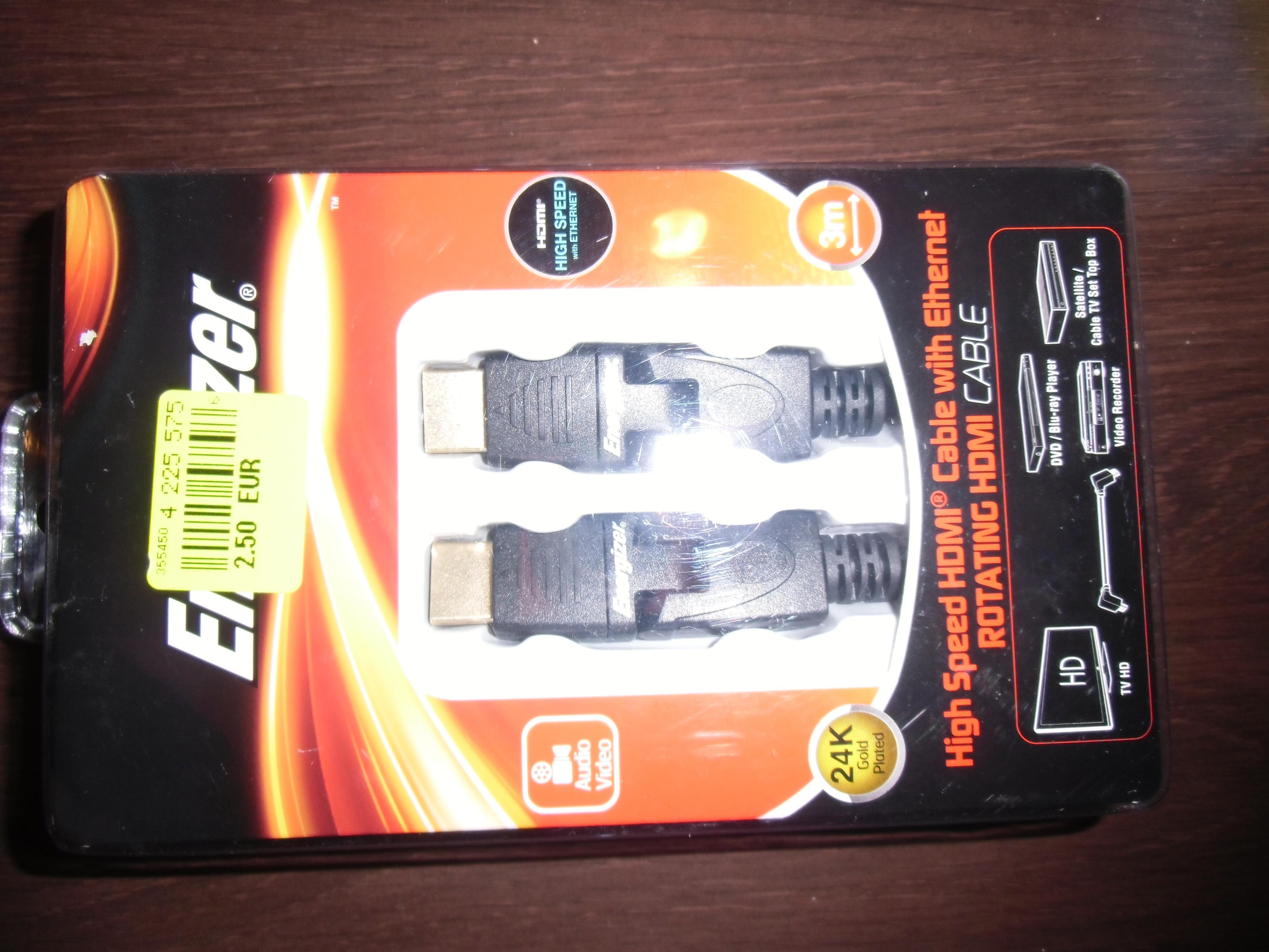 Câble HDMI Energizer High Speed Ethernet avec Rotation - 3m