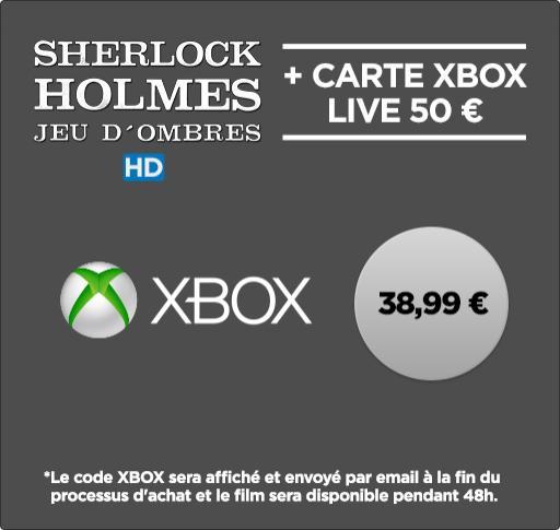 Carte Xbox Live de 50€ + Sherlock Holmes Jeu d'Ombres en location HD 48h