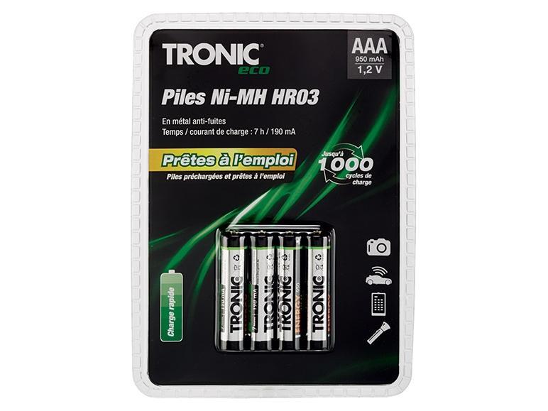 Sélection de Piles rechargeables Tronics Ni-MH prêtes à l'emploi - Modèles au choix