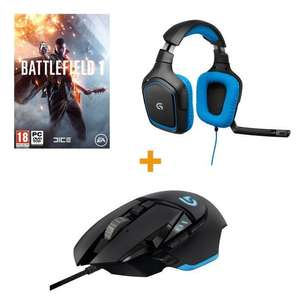 Pack souris gamer Logitech G502 Proteus Spectrum + casque gamer Logitech G430 + Battlefield 1 sur PC