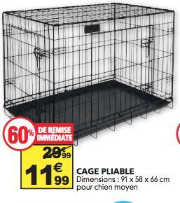 Cage pliable pour Chiens de tailles moyennes - 91 x 58 x 66cm