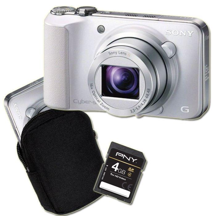 Appareil Photo Compact Sony HX-10 Blanc + Etui + Carte SD 4 Go