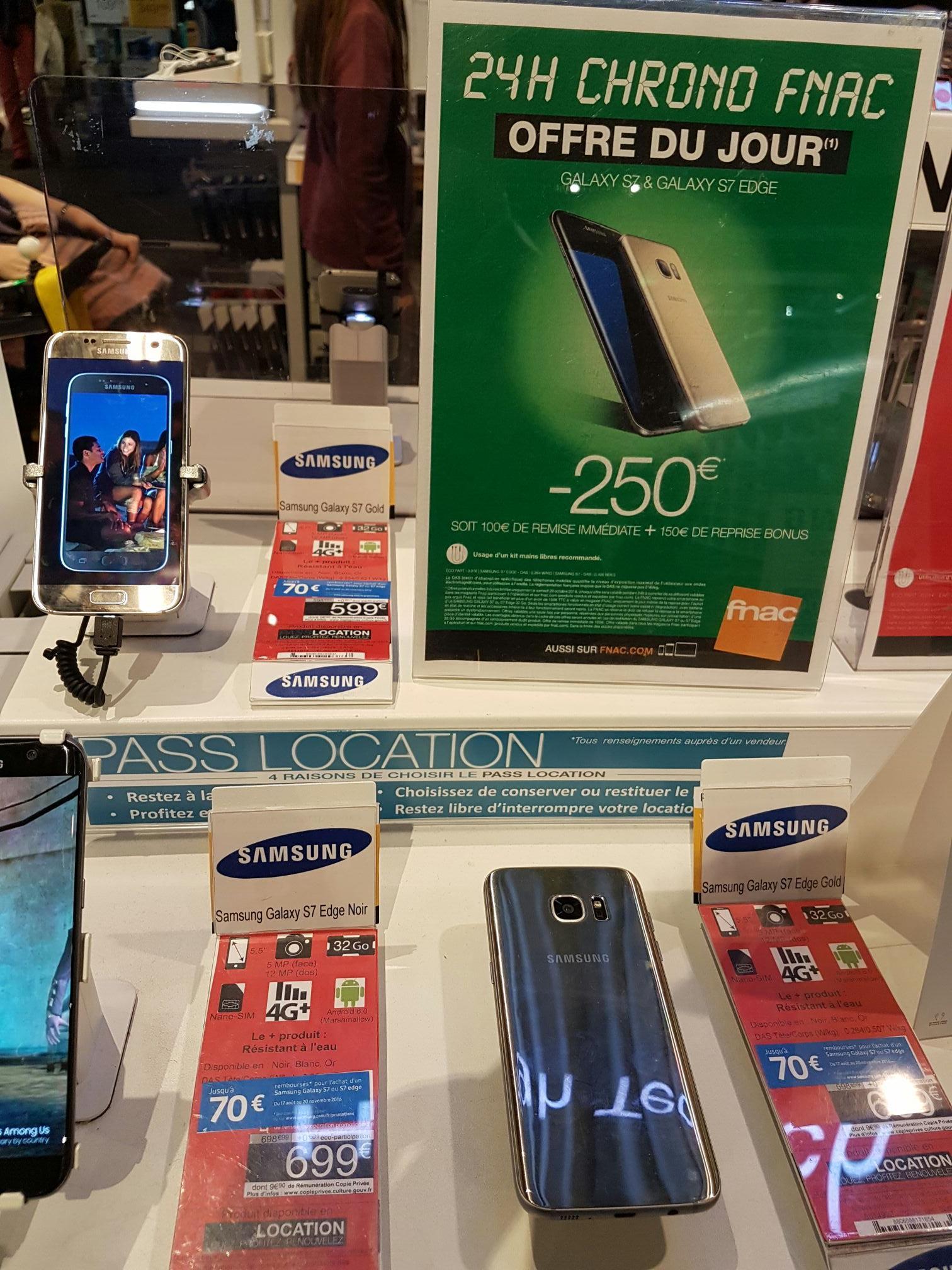 """Smartphone 5.5"""" Samsung Galaxy S7 Edge (via 150€ sur la reprise de votre ancien téléphone + 100€ de remise + ODR de 70€)"""