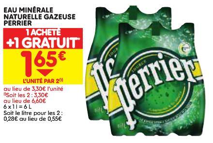 2 packs de 6 bouteilles de Perrier 1L