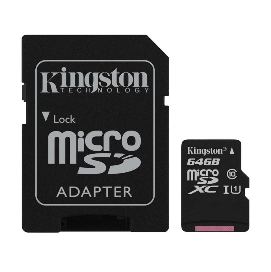 Carte microSDXC Kingston Classe 10 (Jusqu'à 60Mo/s) - 64 Go + Adaptateur SD