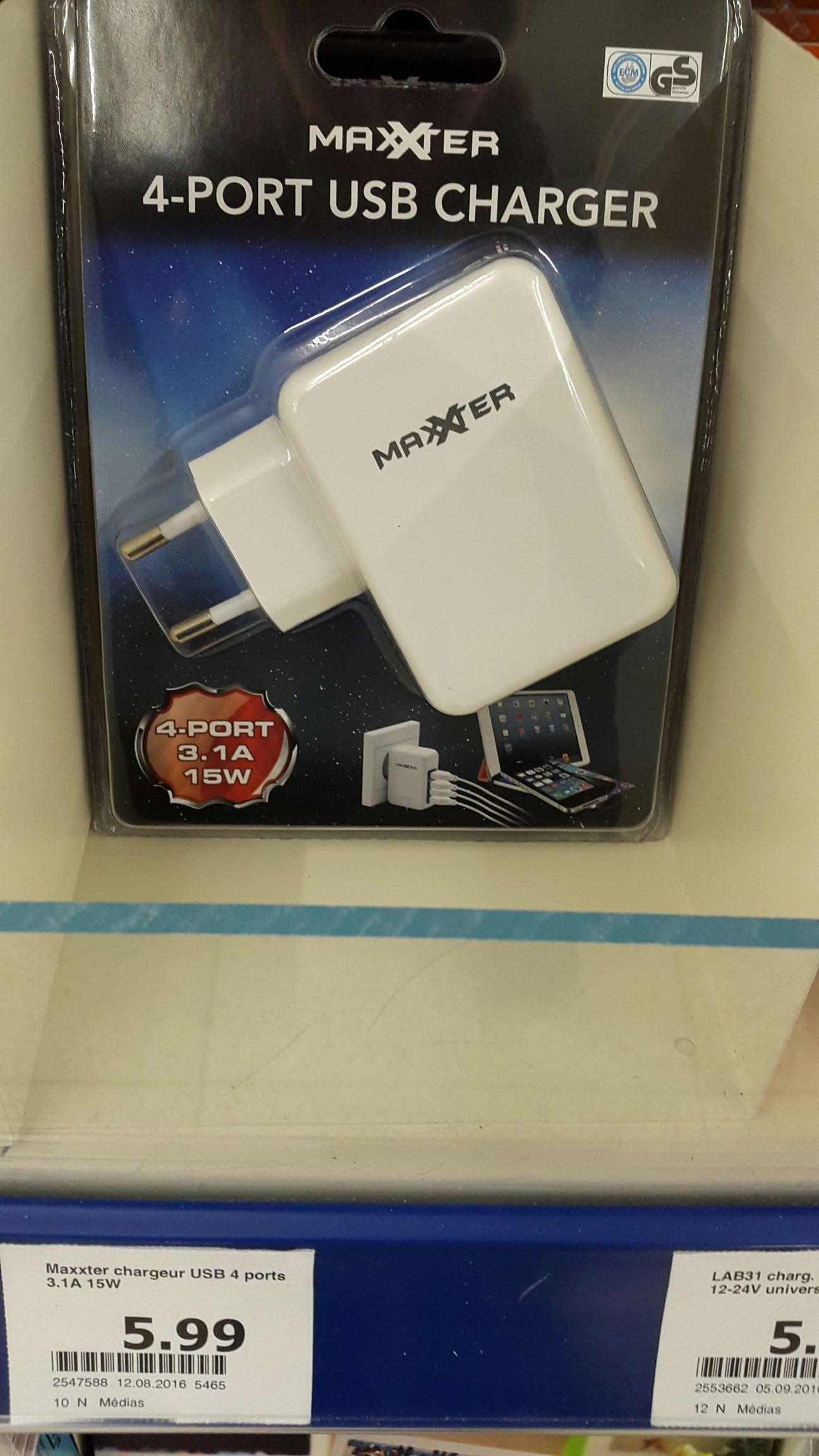 Chargeur secteur USB Maxxter (4 ports, 3.1 A, 15 W)