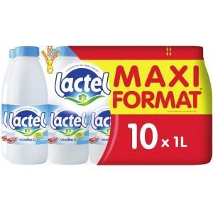 Lot de 2 packs de 10 bouteilles de lait demi-écrémé Lactel - 20L