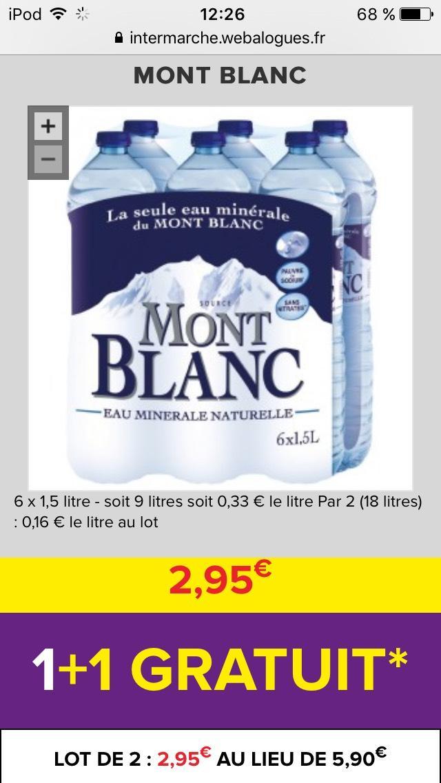 Sélection de produits en promotions - EX : 2 packs d'eau minérale naturelle Mont Blanc  6x1.5L (via Shopmium)