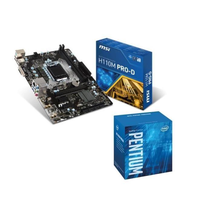 Pack Processeur Intel Pentium G4400 (SkyLake) + Carte Mère MSI H110M Pro-D