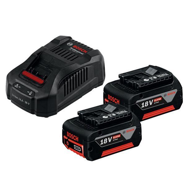 Pack de 2 batteries Lithium-Ion Bosch pro 18v - 6.0Ah et un chargeur