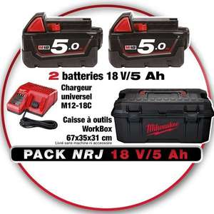 Pack Chargeur Universel + 2 Batteries Lithium NRG Milwaukee - 18V 5Ah + Caisse à Outils WorkBox - 67 x 35 x 31cm