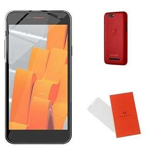 "Smartphone 5"" Wileyfox Spark Plus Noir Dual SIM - IPS HD, RAM 2Go, 16Go, Cyanogen 13.0 + Coque rigide Rouge + Protection d'écran en verre trempé"