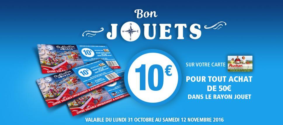 10€ crédités sur la carte pour tout achat de 50€ dans le rayon jouet (hors jeux vidéo, consoles...)
