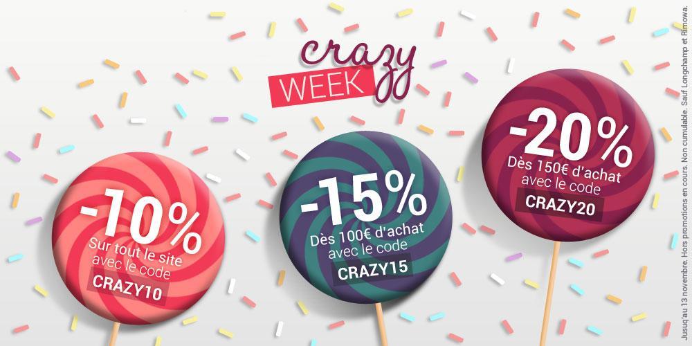 10% de réduction sur tout le site sans minimum, 15% dès 100€ d'achat et 20% dès 150€