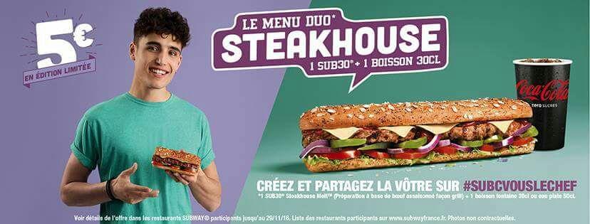 Sandwich Subway Sub 30 (Steakhouse) + une boisson 30cl