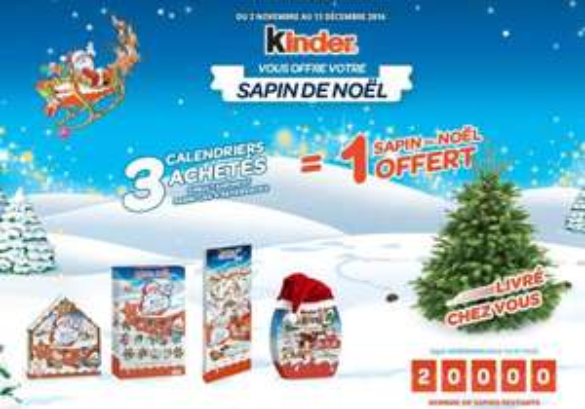 1 Sapin Nordmann - 1 à 1,25m + 3 Calendriers de l'Avent Kinder