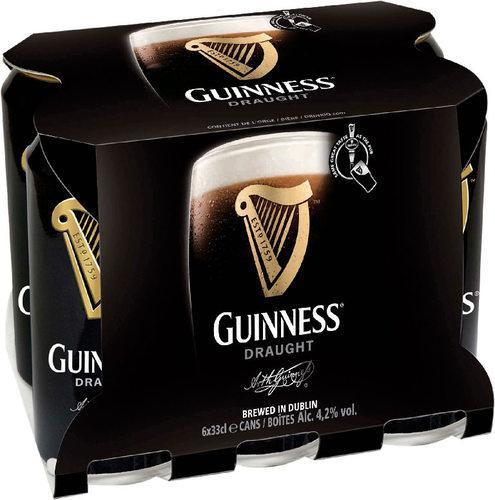 Pack de 6 cannettes Guinness Draught 33cl