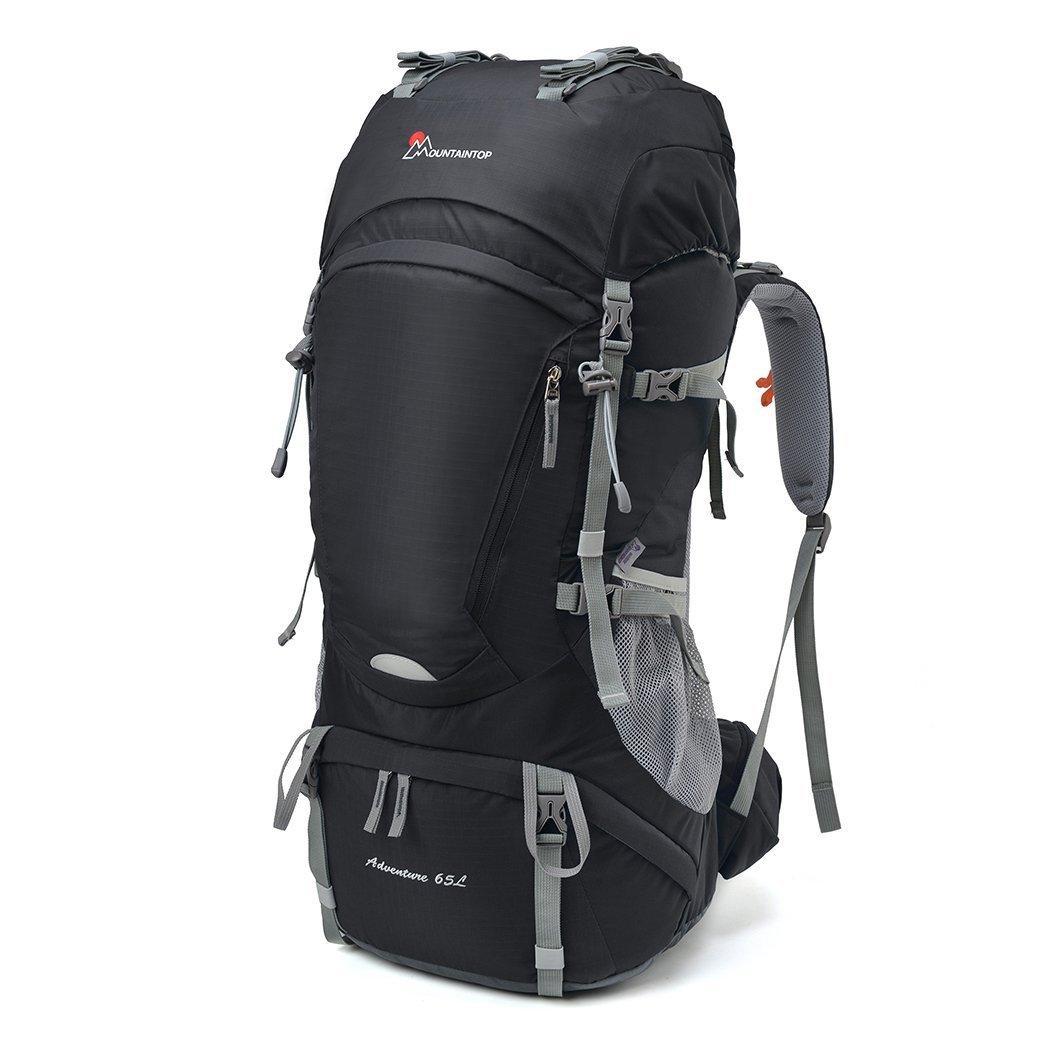 Sac à dos de randonnée MountainTop - 65 L, étanche avec couverture-pluie, noir