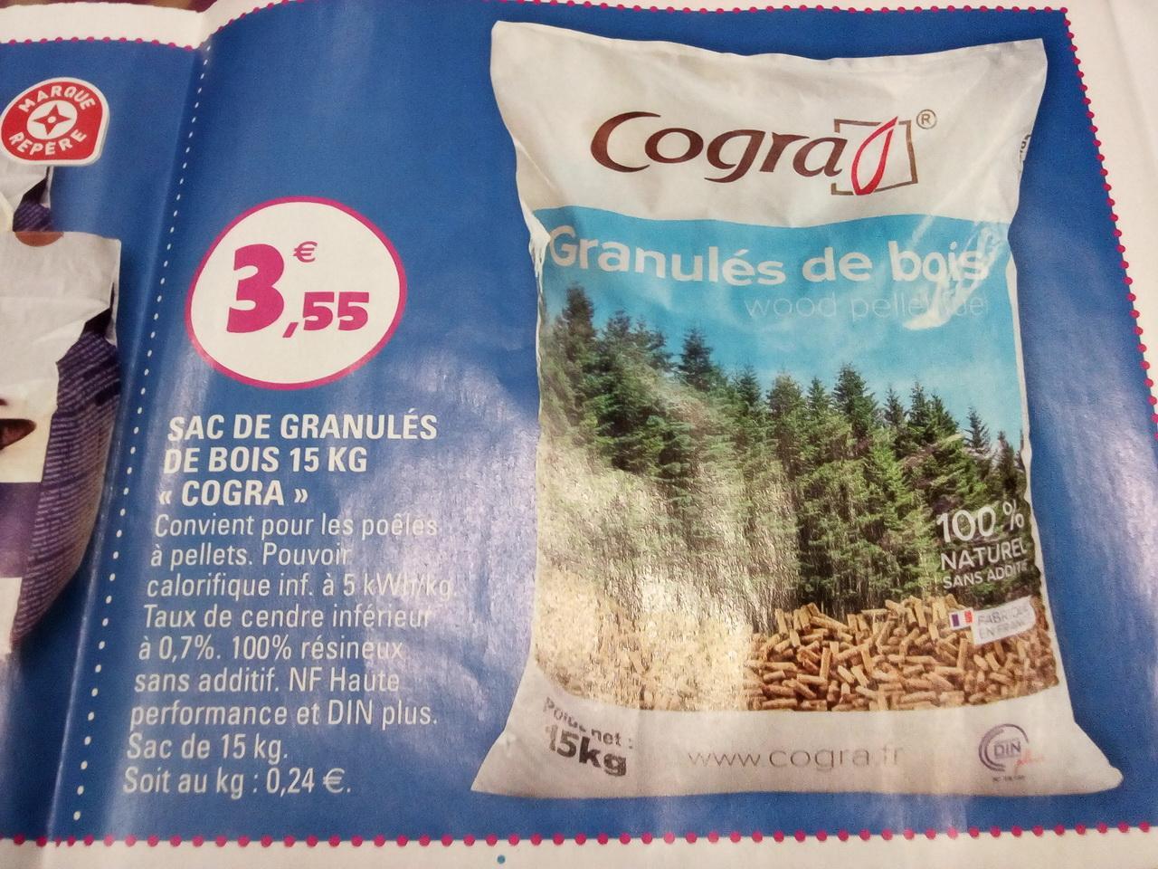 Sac de granulés de bois Cogra - 100% resineux, Din+, 15Kg