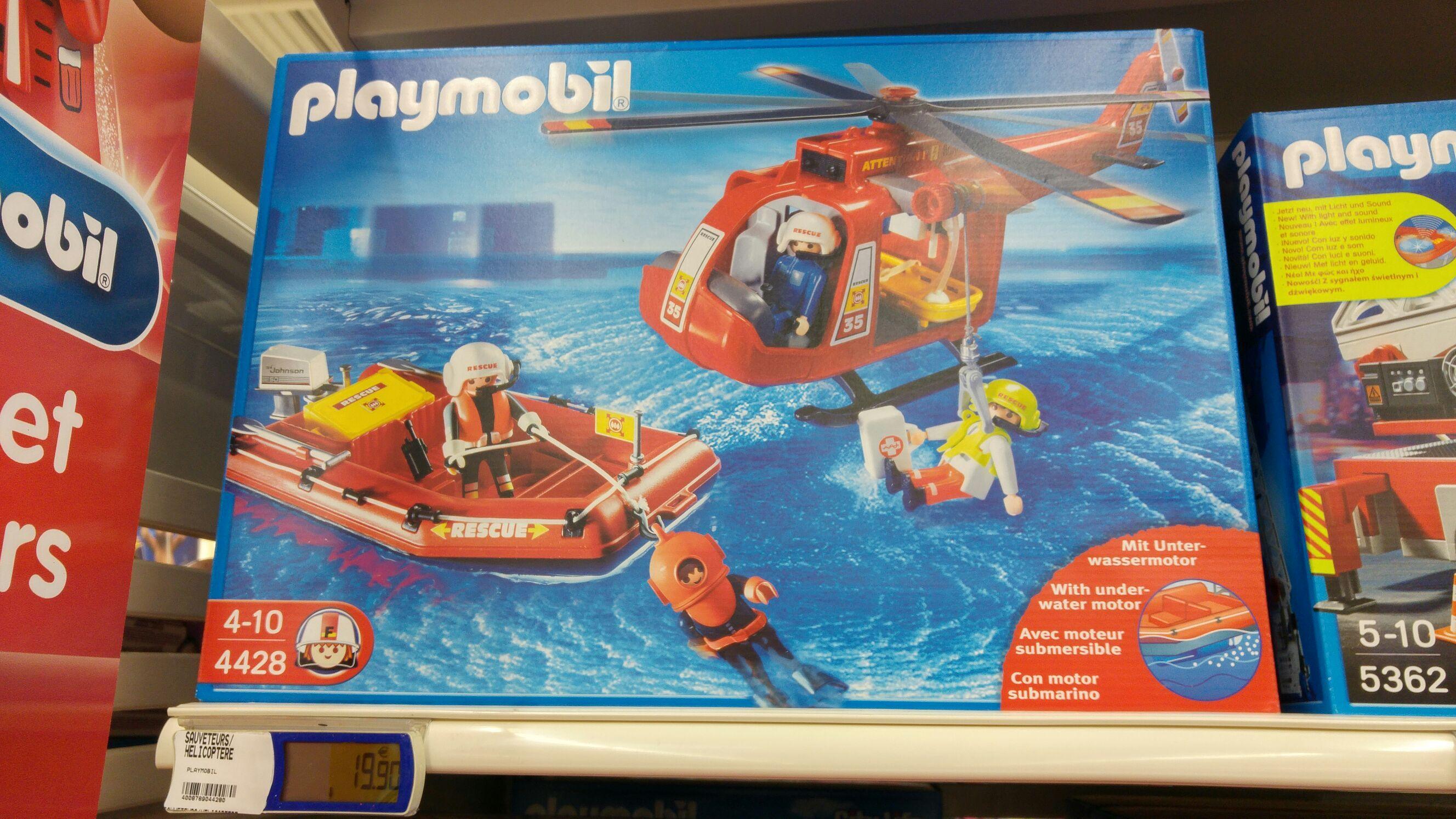 Jouets Playmobil Les Sauveteurs : Helicoptere + Bateau n°4428