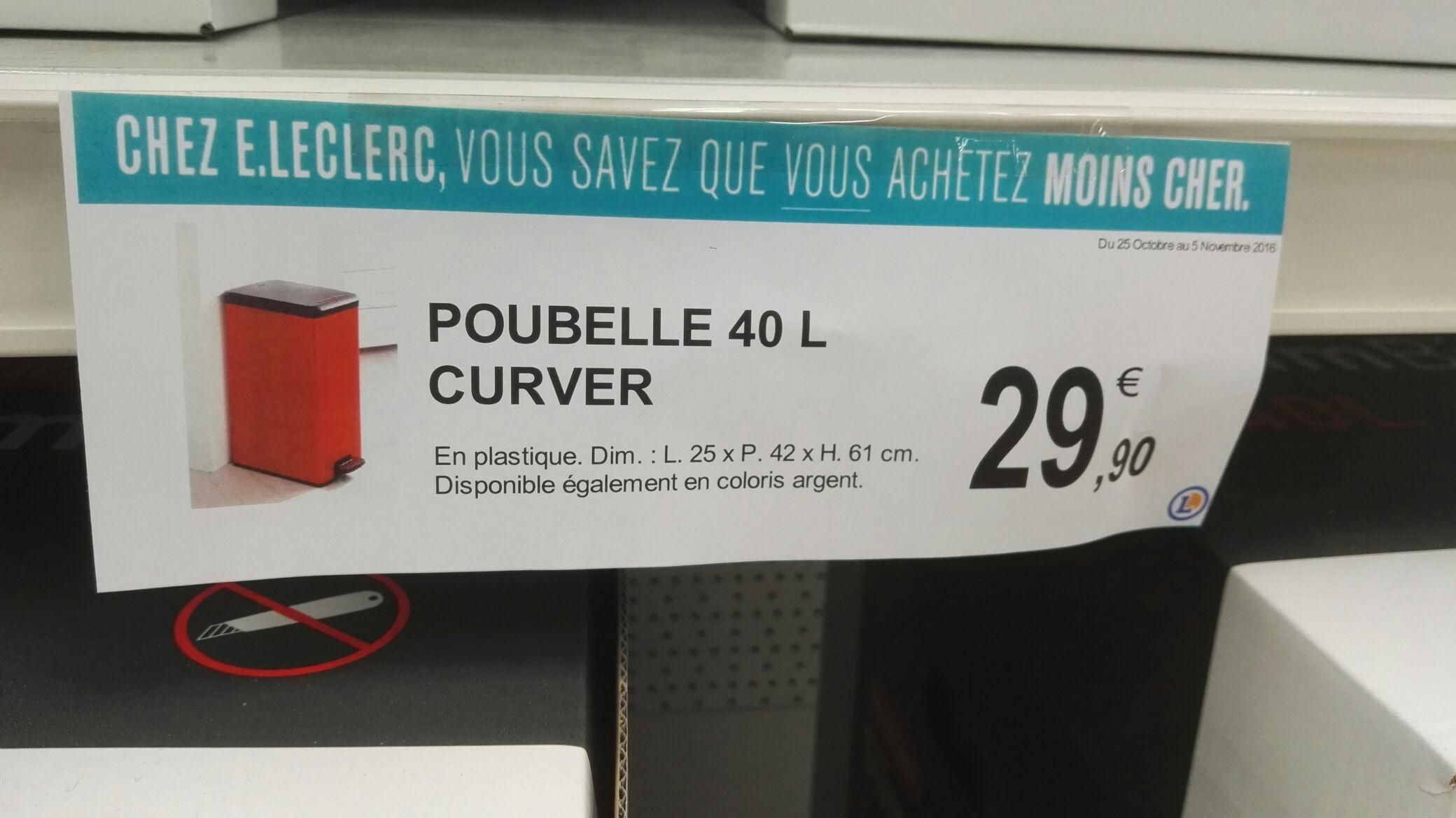 Poubelle Curver slim bin - 40L, Argenté ou Rouge