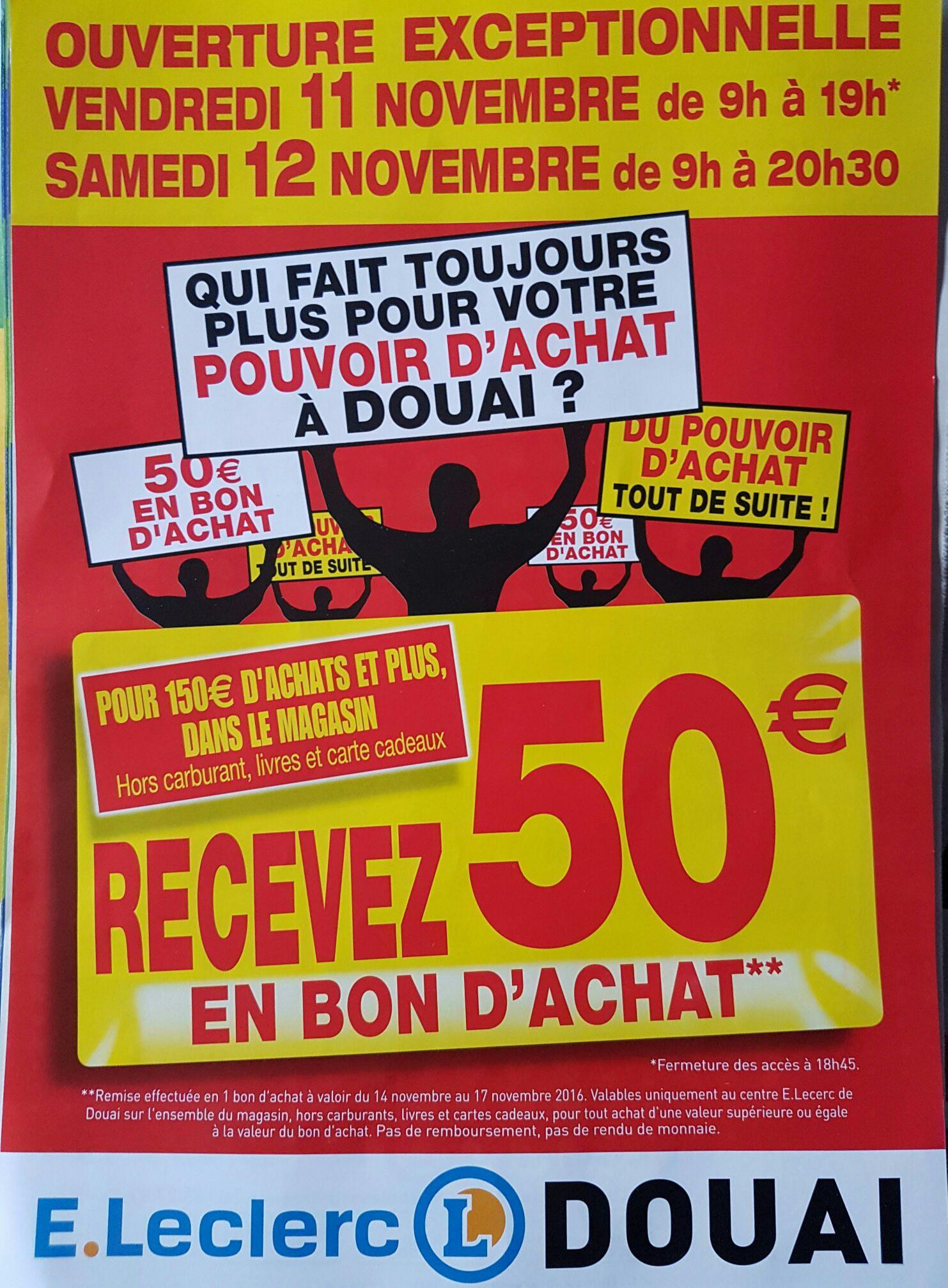 50€ offerts en bon d'achat pour 150€ dépensés