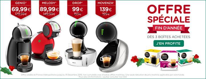Sélection de machines en promotion pour l'achat de 3 boites de capsules - Ex :Machine à Café Dolce Gusto Oblo + 3 Boites de capsules