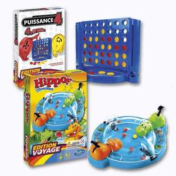 Jeux Edition Voyage : Puissance 4, Touché coulé, Qui est-ce ?, Cluedo, Monopoly ou Hippos Gloutons