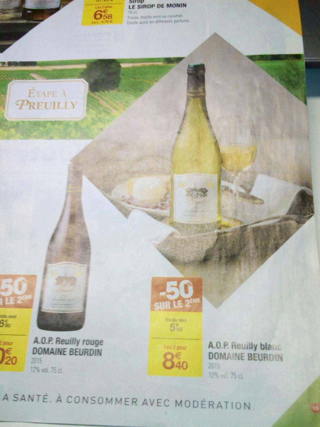 2 Bouteilles de vin blanc Reuilly 2015 Domaine Beurdin