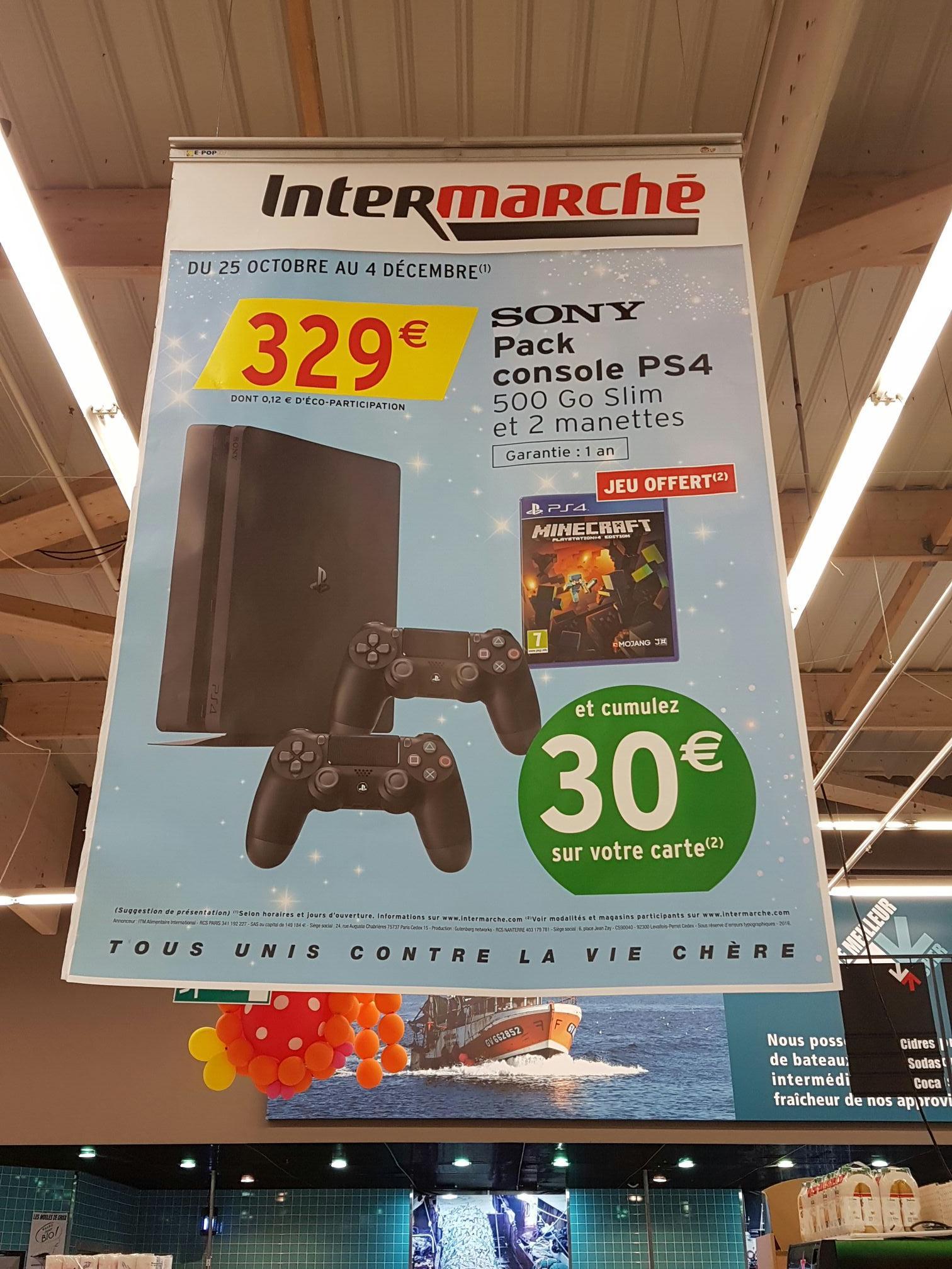 Console Sony PS4 Slim 500 Go +  2ème manette + Minecraft (via 30€ sur la carte)