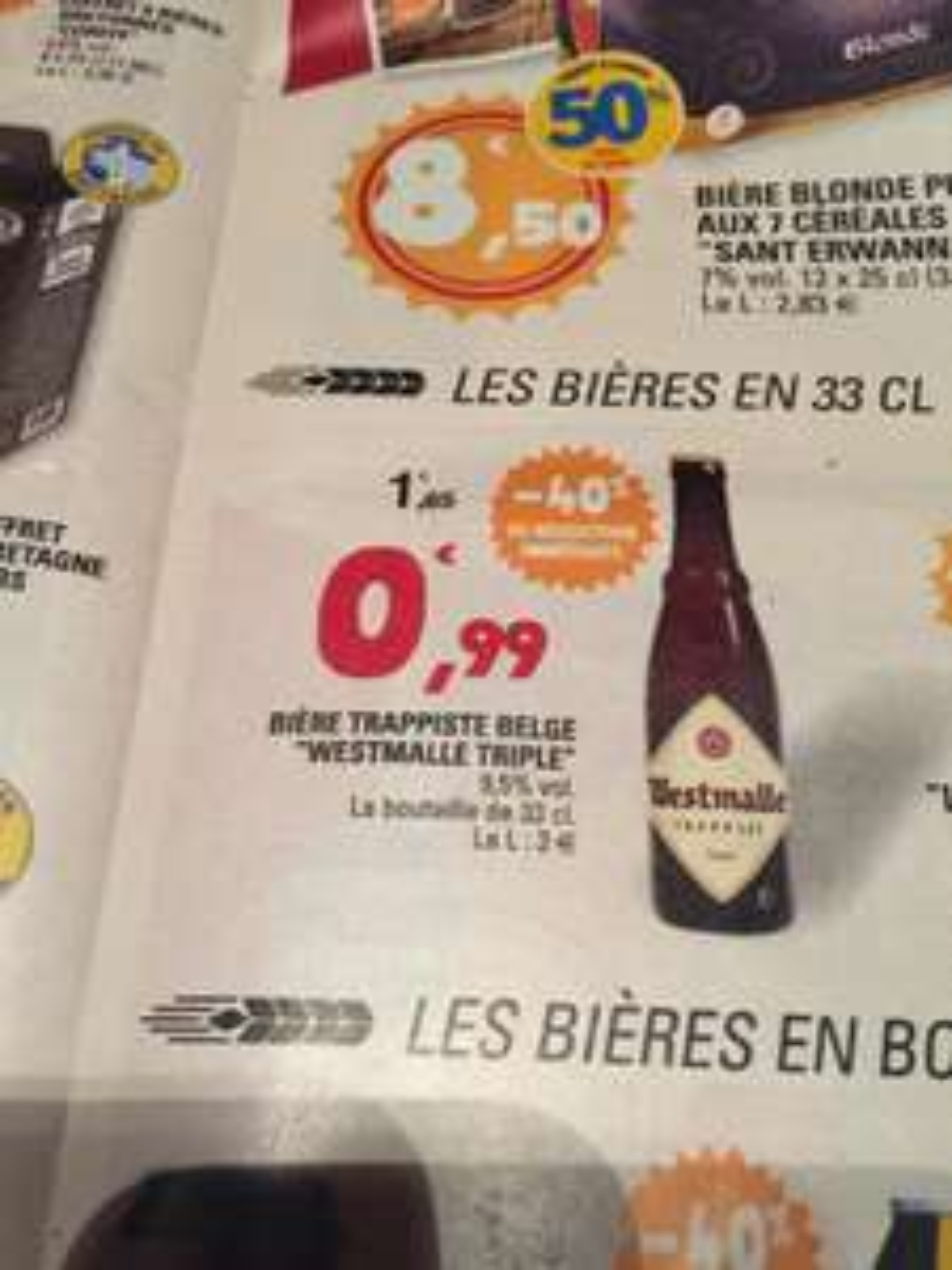 Bouteille de 33 cL de Bière Trappiste Belge Westmalle Triple