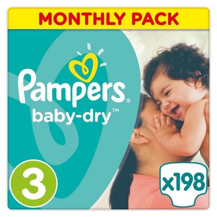 [Cdiscount à Volonté] Paquet de 198 couches Pampers Baby Dry (taille 3)