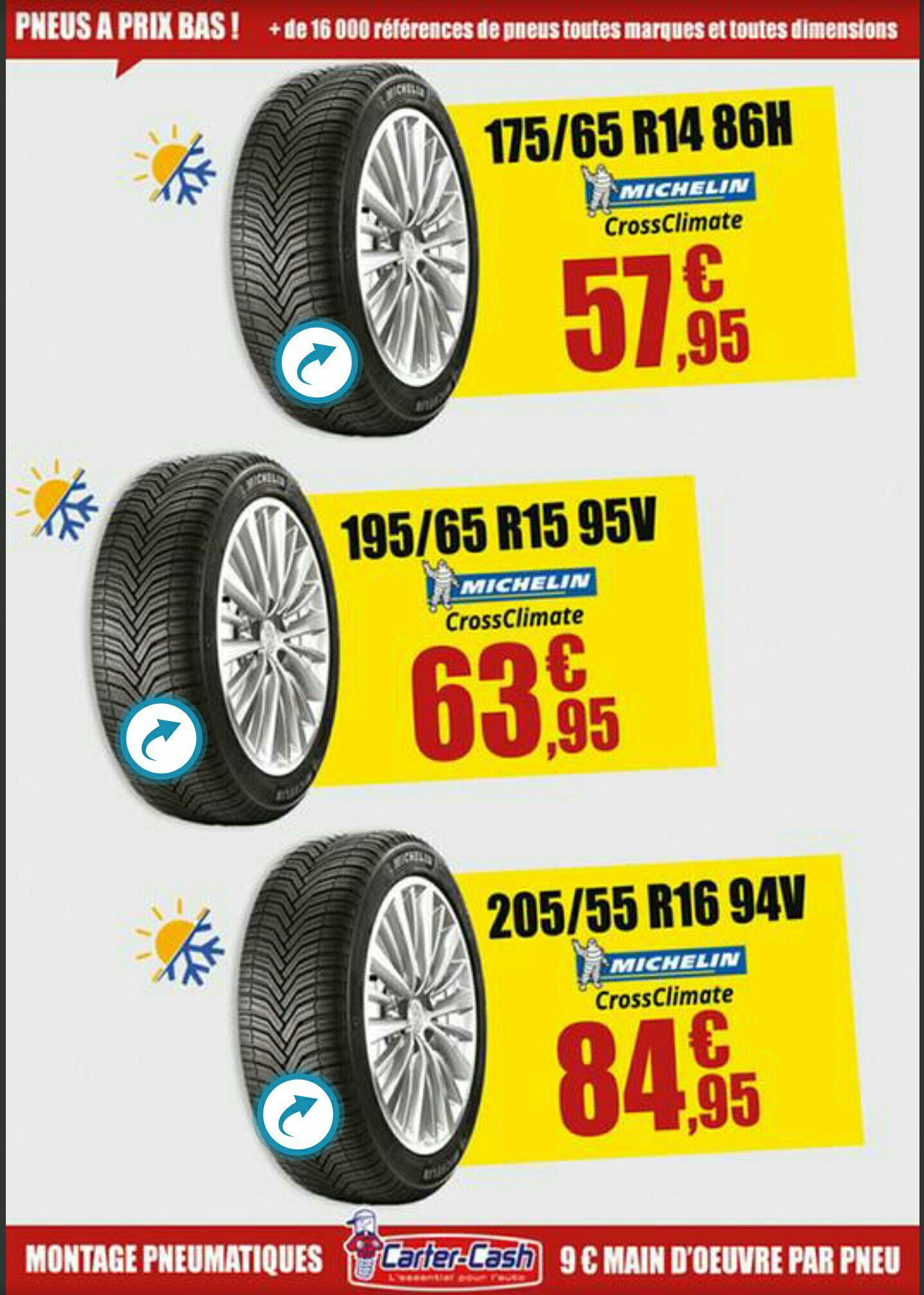 3 dimensions de pneus Michelin CrossClimate en promotion - Ex : 175/65/14 86H