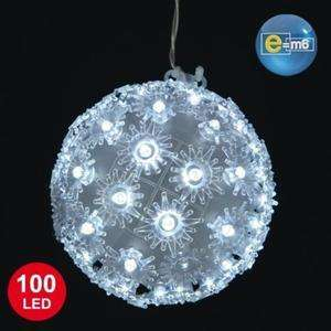 Boule lumineuse de noël - 15cm de diamètre, 100 LED, Blanche