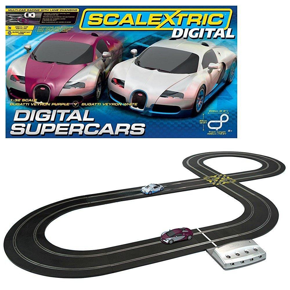 Circuit de voiture scalextric digital supercar , 2 Bugatti veyron , base digitale 4 voitures